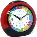 Atlanta Children's Alarm Clock 1678 - Analogue - For Boys and Girls - With Repetition, Lights Up at the Push of a Button, with Crescendo Alarm - No Ticking - Dimensions: Approx. 11 cm, red