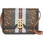 Burberry lille taske i E-lærred med monogram og striber - Brun
