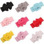 Butterme New Arrival 8Pcs Babys Girls Cotton Turban Bowknot Elastic Hairband Photography Headbands