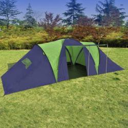 Campingtelt stof 9 personer blå og grøn