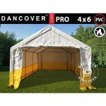 Dancover Lagertelt/arbejdstelt /Håndværkertelt PRO 4x6m, PVC, Hvidt/gult, Flammehæmmende