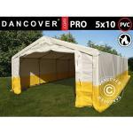 Dancover Lagertelt/arbejdstelt /Håndværkertelt PRO 5x10m, PVC, Hvidt/gult, Flammehæmmende