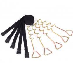 Deluxe forankringssæt med 5 pløkker og justerbare stropper