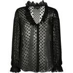 Emporio Armani gennemsigtig bluse med polkaprikker - Sort