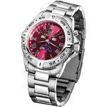 FIREFOX Moon Phase Watch FFS01-505 Sunray Red Solid Stainless Steel Women's Watch Men's Watch Safety Folding Clasp 10 ATM Waterproof Miyota 6P80 Movement