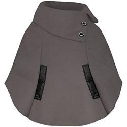Girls Poncho Black Button Design in Mocha 5-6 Years
