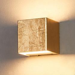 Guldfarvet LED-væglampe Quentin, 9 cm