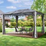 Havepavillon Forest Deluxe loft grey med birketræs-look, 3x4m