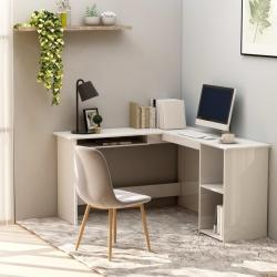 Hjørneskrivebord 120 x 140 x 75 cm spånplade hvid højglans