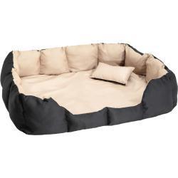 Hundeseng i polyester - sort/beige