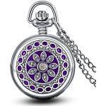 Infinite U Fashion Enamel Purple Flowers and Mirror Small Quartz Pocket Watch Necklace with Long Chain for Men/Women/Girl/Boy/Children