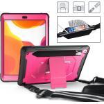 """iPad 10.2"""" (2020 / 2019) Armor Cover m. Stander, Pencil Holder & Bærestrop - Sort / Pink"""