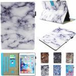 "iPad Pro 10.5 / iPad Air (2019) Cover - ""White Marble"" m. Dobbelt Ståfunktion & Kortholder Hvid / Sort"