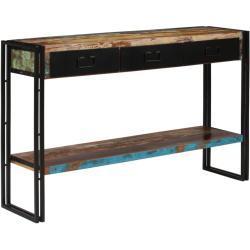 Konsolbord i massivt, genanvendt træ 120 x 30 x 76 cm