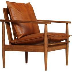 Lænestol ægte læder med akacietræ brun