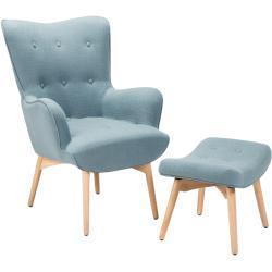 Lænestol med fodskammel Blå VEJLE