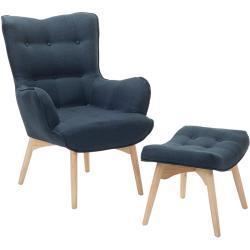 Lænestol med fodskammel Mørkeblå VEJLE