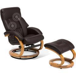 Lænestol med Massage og Varme og fodskammel Mørkebrun FORCE