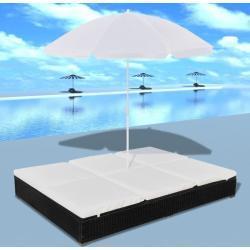 Loungeseng med parasol polyrattan sort