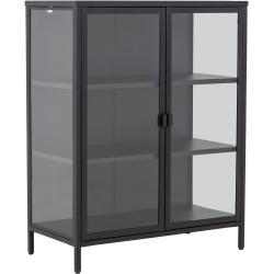 Marton skænk/vitrineskab i stål med 2 glaslåger - sort