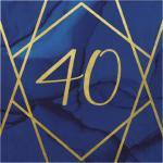 "Navy & Gold Servietter ""40"""