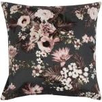 Pudebetræk 50x70 cm - Flowers & Dots - Grå - 2 i 1 design - 100% Økologisk Bomuldssatin