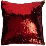 Pyntepude - 40x40 cm - Rød & Guld pailletter - Satin - Borg Living