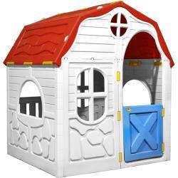 Sammenfoldeligt legehus med dør og vinduer