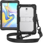 """Samsung Galaxy Tab A 10.5"""" Håndværker Cover m. Skulderstrop - Sort / Gennemsigtig"""