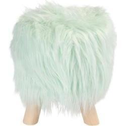 Skammel - Sidde puf - Mint grøn imiteret pels med træben