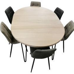 Hvide Skandinaviske Spiseborde i Egetræ til 8 Personer Runde Med udtræk