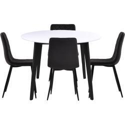 Spisebordssæt - Bjørk rundt spisebord Ø105 + 4 sorte Line kunstlæder stole