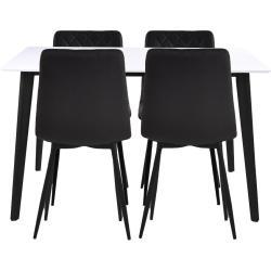 Spisebordssæt - Bjørk spisebord 120 cm + 4 sorte Line kunstlæder stole