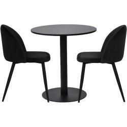 Spisebordssæt - Troy rundt cafébord + 2 sort Alice stole