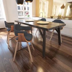 Spisebordsstole 4 stk. bøjet træ og stof mørkegrå