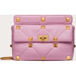Valentino Garavani Large Roman Stud The Shoulder Bag In Nappa With Chain Women Light Pink 100% Lambskin OneSize