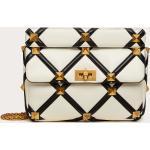 Valentino Garavani Large Roman Stud The Shoulder Bag In Nappa With Grid Detailing Women Ivory/black 100% Lambskin OneSize