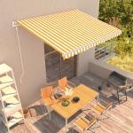 vidaXL automatisk foldemarkise 400 x 300 cm gul og hvid