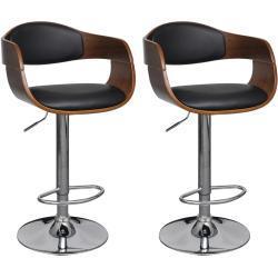 vidaXL barstole 2 stk. bøjet træ og kunstlæder