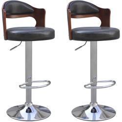 vidaXL barstole 2 stk. med ryglæn i formspændt træ kunstlæder
