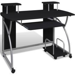 vidaXL computerbord med udtræksplade til tastetur sort