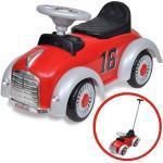 vidaXL Elbil til børn skubbehåndtag retro rød
