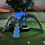 vidaXL festtelt med LED og 4 sidevægge 3,6x3,6x2,3 m blå