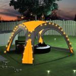 vidaXL festtelt med LED og 4 sidevægge 3,6x3,6x2,3 m gul