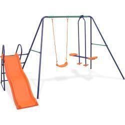 vidaXL gyngesæt med rutsjebane og 3 sæder orange