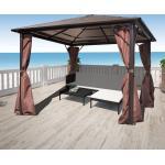 vidaXL havepavillon med gardin brun aluminium 300 x 300 cm