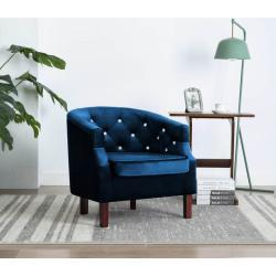 vidaXL lænestol fløjl blå