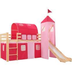 vidaXL loftseng til børn med rutsjebane og stige fyrretræ 208x230 cm