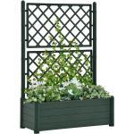 vidaXL plantekasse med espalier 100x43x142 cm PP grøn