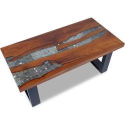 vidaXL sofabord i teaktræ og plastik 100 x 50 cm
